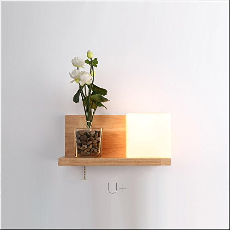 YU-K Moderne Wandleuchte Massivholz LED Wandleuchte ideal für Bar Restaurant Cafe Wohnzimmer Schlafzimmer Flur Balkon, Cube