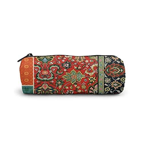 Estuche para bolígrafo, bolsa de cosméticos cilíndrica, bolsa de papelería multifuncional con cremallera para suministros escolares y de oficina, motivos ornamentales florales étnicos indopersianos