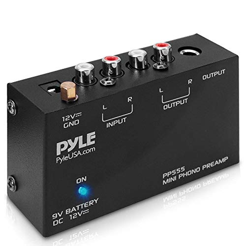 Pyle Phono Turntable Preamp - Mini Electronic Audio Stereo Phonograph Preamplifier with 9V Battery Compartment, Separate DC 12V Power Adapter, RCA Input, RCA Output & Low Noise Operation (PP555) BLACK
