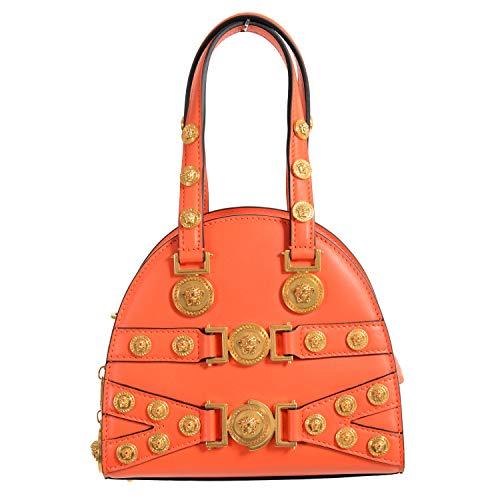 Bolsa feminina Versace Tribute 100% couro laranja bolsa de ombro