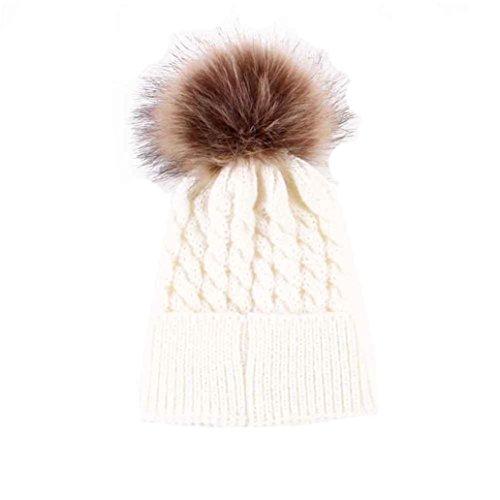 BlueSterCool Sombreros bebé, Invierno Sombrero de Punto de 0-36 Meses niña Gorras Pelota de Felpa Mantenga el Sombrero Caliente (Blanco)
