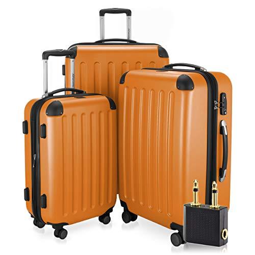 Hauptstadtkoffer - Spree - 3er-Koffer-Set Trolley-Set Rollkoffer Reisekoffer-Set Erweiterbar, TSA, 4 Rollen, (S, M & L), Orange +LogiLink Flugzeug Audio Adapter