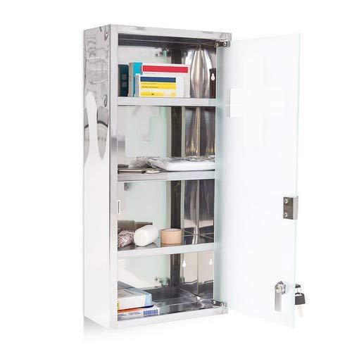 Relaxdays medicijnkastje groot H x B x D: 57 x 27 x 12 cm apothekerskast met 4 planken medicijnkastje voor eerste hulp van glanzend metaal met melkglas deur afsluitbaar, zilver