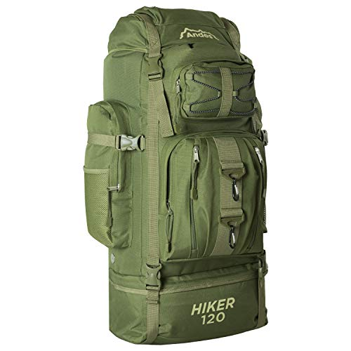 Andes Hiker 120 - Wander-/Camping-Rucksack - extragroß - 120 l Fassungsvermögen - Olivgrün