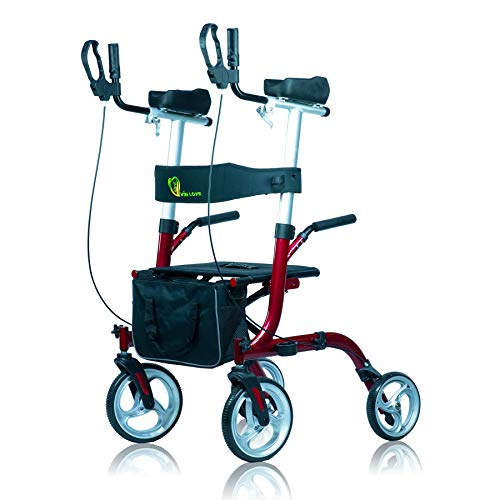 WINLOVE Upright Rollator Stand Up Aluminium Walker for Rolling Mobility Walking Aid with Armrests for Seniors