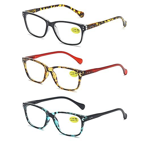 MMOWW 3 gafas de lectura con bisagra de resorte retro personalizadas para hombres y mujeres, gafas de lectura con luz anti-azul, gafas coloridas para computadora(Negro+Rojo+Azul,+2.5)