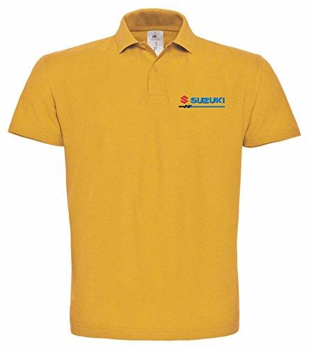 avstickerei Polo bestickte SUZUKI Fun Poloshirt, verschiedene Farben, super Premium-Qualität, 100% Baumwolle (L, Gelb)