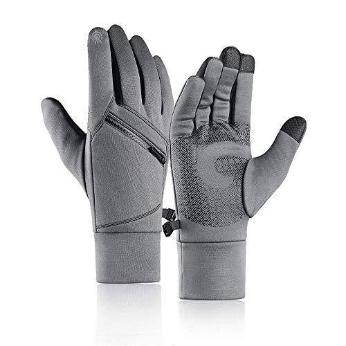B/H Touchscreen Winterhandschuhe,Warme Reithandschuhe Outdoor-Kletterhandschuhe-Grey_M #,Strick Fingerhandschuhe Sport