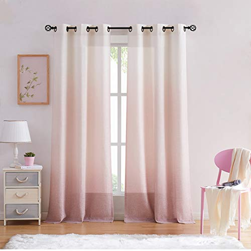 """Central Park Ombre Rayon Blend Heavy Linen Texture Window Curtain Panel 6 Grommets Top Gradient Cream White to Pink Dust Rose Window Drapes Treatment for Living Room/Bedroom, Set of 2, 40"""" x 95"""" Each"""