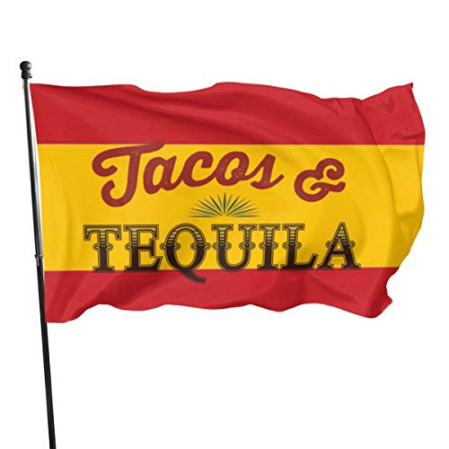 NotApplicable Decor Flag Tacos Tequila Logo Holiday Willkommen Standard Lebendige Dekorative Feiertage Im Freien Classic House Flag Yard Banner Saison 150X90Cm Bunte Gartenflagge