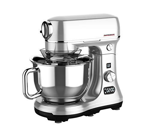 GASTROBACK 40977 Design Küchenmaschine Advanced Digital, massives Aluminiumguss-Gehäuse, 600 Watt Gleichstrom-Hochleistungsmotor, XXL-Zubehör, 5 liters, Silber