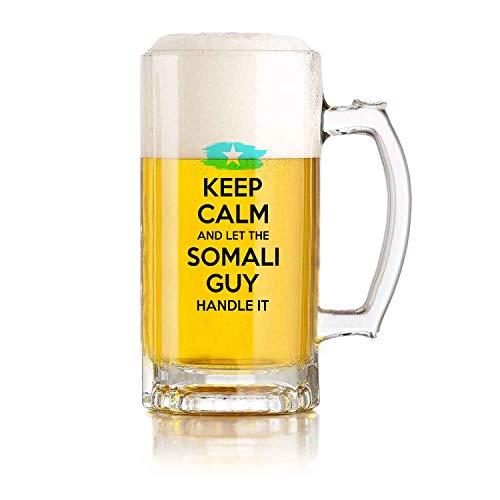 Jarra de cerveza de vidrio para restaurante, juego de pelota, jarra de cerveza, regalo somalí para hombres, abuelo, papá, tío, novio, mantén la calma y deja que el chico somalí lo maneje