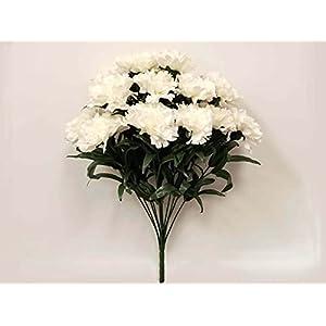 White Carnation Bush Artificial Silk Flowers 18″ Bouquet 14-6996 WT
