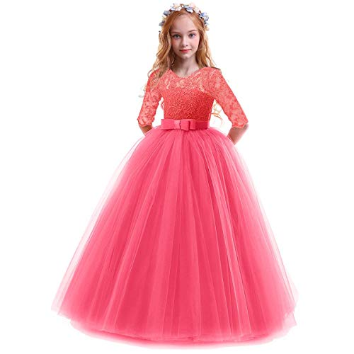 Child Girls Flower Vintage Floral Lace 3/4 Sleeves Floor Length Dress Tulle Wedding Birthday Party Evening Formal Prom Dresses Summer A Line Pegeant Long Maxi Dance Ball Gown Watermelon Red 9-10