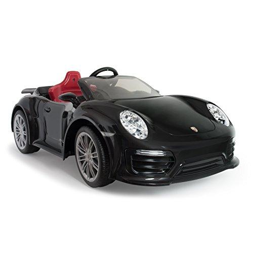 INJUSA - Porsche 911 Turbo S Negro a Batería de 12V Recomendado para Niños a partir de 3 Años con Control Remoto y Conexión MP3