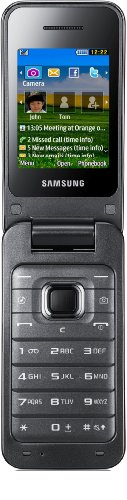 Samsung C3560 Klapphandy (5,5 cm (2,2 Zoll) TFT-Bildschirm, 2 Megapixel Kamera, EDGE, USB 2.0) metallisch schwarz