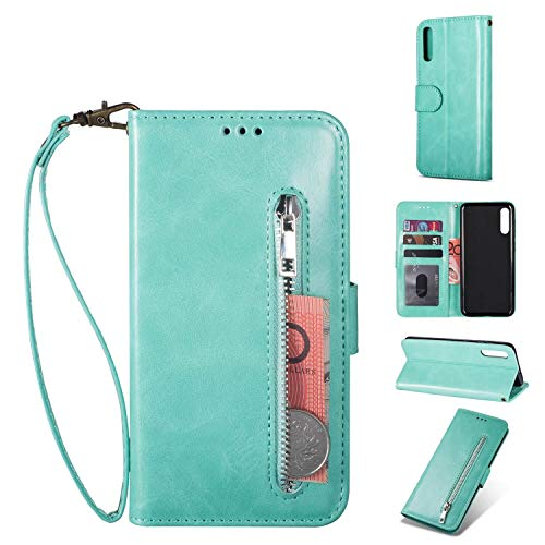 ZTOFERA Samsung Galaxy A70 Handyhülle Schutzhülle Leder PU Wallet Lederhülle Klapphülle Kartenfach Standfunktion Zipper Brieftasche Magnetisch Silikon Protective Hülle für Galaxy A70 - Minzgrün