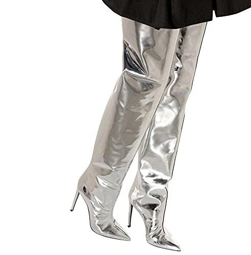Luckyw Europa Y América Sra. Charol Plateado Tacón Alto sobre La Rodilla Botas De Muslo Zapatos De Gran Tamaño Moda De Invierno,Plata,36
