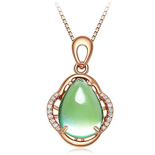 WEIKAI Collar para mujer con colgante de piedra verde uva incrustado con cristal de jade puro, delicado y transparente
