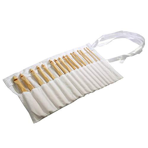 Set 16 Piezas Bambú Agujas de Ganchillo - Kit de Agujas en Bolsa de Algodón - Ideal para Ganchillo, Encaje, Blondas y Proyectos Florales - El Mejor Set Para Principiantes y Profesionales