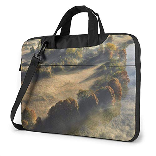 15.6″Lightweight Laptop Notebook Shoulder Backpack Bag Fog Trees Mountain Waterproof PC Briefcase Messenger with Strap