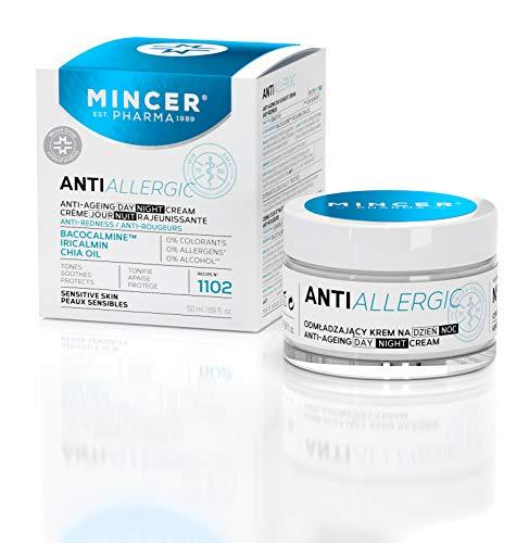 Mincer Pharma Anti Allergic Crema facial antialérgica antialérgica de día y noche contra las rojeces antiedad para pieles sensibles con bacocalmin, iricalmina y aceite de chía, 50 ml