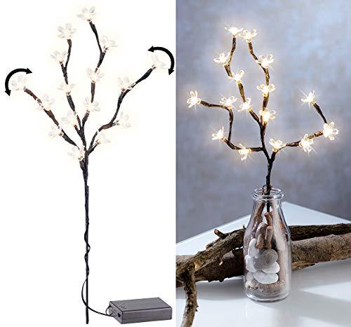 Lunartec LED Zweig: LED-Lichterzweig mit 16 leuchtenden Blüten, 44 cm, batteriebetrieben (Blütenzweige mit Beleuchtung)