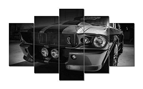 104Tdfc El Coche Forcar Mustang Shelby 5 Pieza Cuadro En Lienzo 5 Piezas Cuadros Lienzo Modular Decoración Pared Póster con Marco,Talla:150X80Cm Murales Pared Hogar Decor