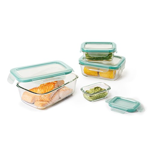 OXO Good Grips Smart Seal Leakproof Glass Food Storage Container Set,Clear,8 Piece Rectangle