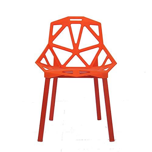 Moderna Moderna Simple Geometric Hollow Bar Taburete, Marco Resistente De Plástico Engrosado, para El Restaurante De Oficina De Café, con Respaldo,Naranja
