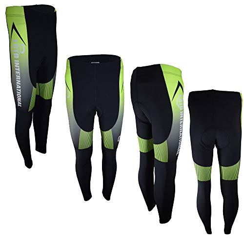 Ento International Herren Thermo-Fahrradhose, gepolstert, lange Hose, Reißverschluss, Fahrrad-Leggings, kalte Kleidung S Schwarz & Grün - 003
