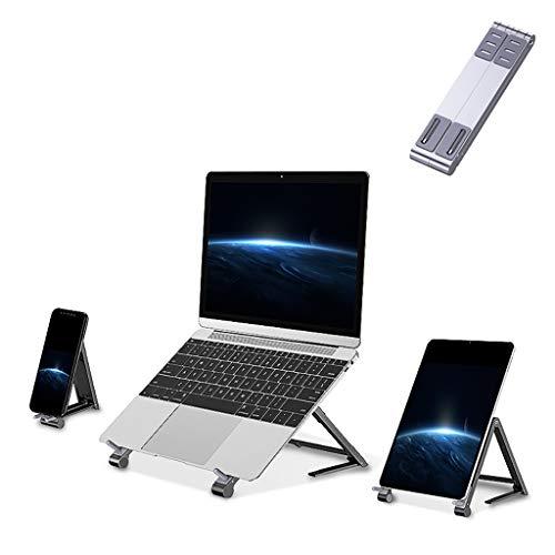 Ordenador portátil soporte plegable, de aluminio 3 en 1 Soporte portátil Adustable, compactos Móviles extensible del soporte del sostenedor del cojín, compatible con otro ordenador portátil,Plata