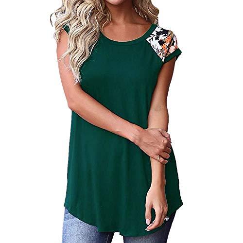 Tops Mujer Camiseta Mujer Chic Elegante Sexy Dulce Verano De Manga Corta Moda Estampado Floral Cómodo Vacaciones Ocio Cómodo Nueva Camisa Mujer B-Green XXL