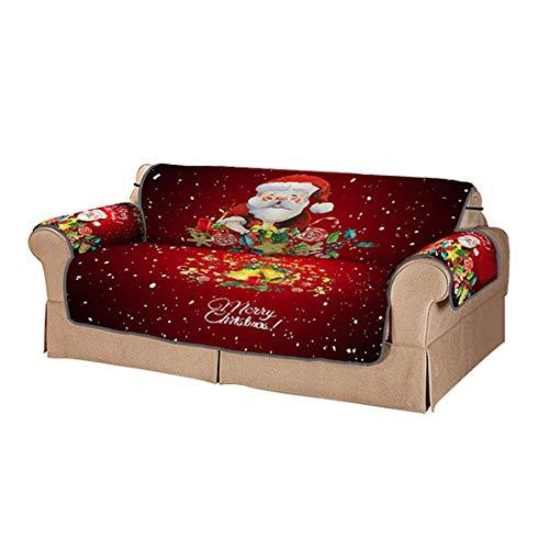 Protector navideño para Muebles, Cojín de poliéster para sofá, Fundas Protectoras con impresión Digital 3D, Asiento Antideslizante Sofá Asiento Doble de Papá No