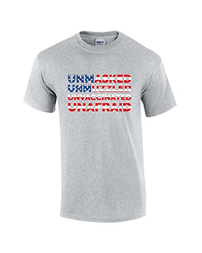 Bandeira americana Unmasked Unfocled Unvaccinated Unafraid Patriot Antitirania Camiseta masculina de manga curta, Cinza esportivo, 6XG