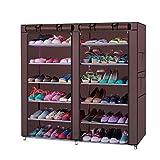 KWOPA Zapatero de 6 filas de 2 líneas, 12 celosías, portátil, de tela no tejida, estante de almacenamiento, estante de zapatos de pie para dormitorio, armario, entrada, café, 107 x 29,5 x 115 cm