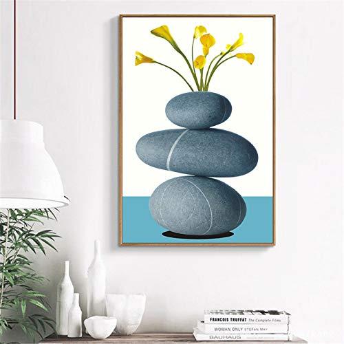 Pinturas abstractas en lienzo de flores de piedra, carteles impresos, cuadros artísticos de pared, cuadros de banksy, dormitorio, hogar, spa, decoración, 15,7 x 23,6 pulgadas (40x60 cm) sin marco