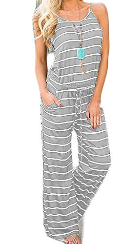 Artfish Women Casual Sleeveless Spaghetti Strap Striped Lounge Pajama Jumpsuit(M, LightGrey Striped)