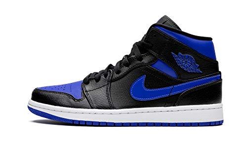 Nike Air Jordan 1 Mid, Scarpe da Basket Uomo, Black/Hyper Royal/White, 45 EU