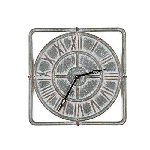 Houten wandklok van industriële smeedijzer, Romeinse cijfers, ronde koepels, kruisbogen, oeroud raadseldesign zinvol, gedistressed verouderde oude wooncultuur stille klok Tk3