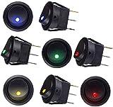 Sunerly, interruttore rotondo on-off illuminato per auto, barca, camion, rimorchio, 8 pezzi, CC 12 V, 20 A, interruttore SPST con luci LED 4 colori