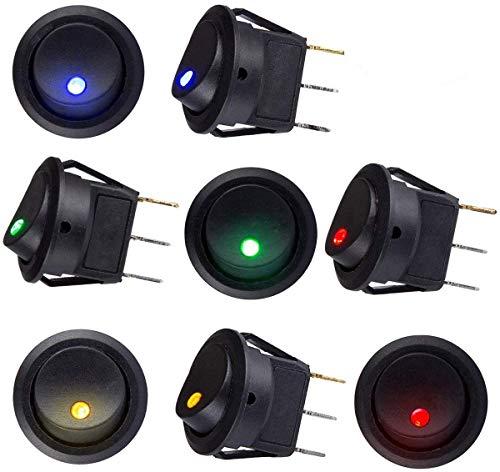 sunerly 8 PCS DC 12V 20A Car Boot Truck Trailer Auto KFZ beleuchtet Runde Schalter Wippschalter Button Toggle Ein-Ausschalter mit roter SPST Switch mit 4 Farbe LED Dot Light