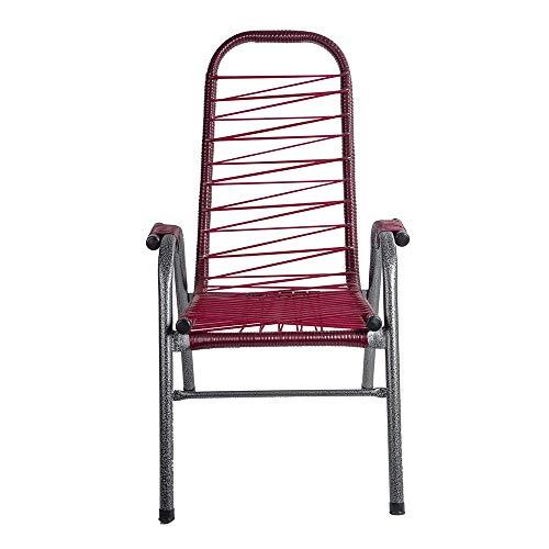 Cadeira de Fio Plus Fabone Vermelho Preto Prata, cadeira de varanda