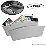 lebogner Between Car Seat Gap Filler Organizer, 2 Pack Grey PU Leather Side of Center Console Car Pocket for Phone, Coins and Keys, Multifunction Crevice Caddy Catcher, Vehicle Interior Accessories