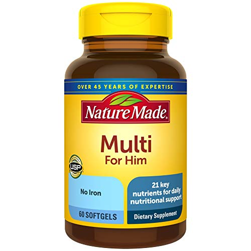 Nature Made Men's Multivitamin Softgels with 21 Key Nutrients, 60 Count for Daily Nutritional Support