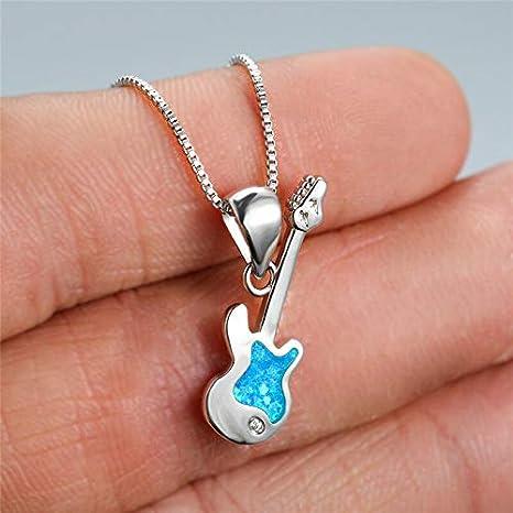 BJGCWY Collar con Colgante de ópalo Azul único para Mujer, Collares de Cadena de Color Plateado clásico para Mujer, Collar de Boda con Guitarra y música