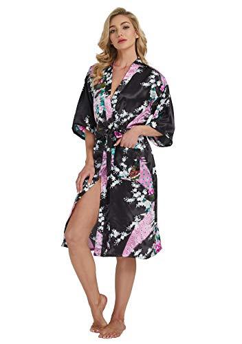 Westkun Kimono Japones Mujer Albornoz Vestido de Satén Pavo Real Novia Pijamas Largo Sexy y Elegante de Seda Bata Camisón Robe Lencería Cardigan(Negro,3XL)