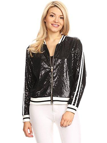 Anna-Kaci Womens Long Sleeve Front Zip Track Stripe Sequin Bomber Jacket, Black, Medium