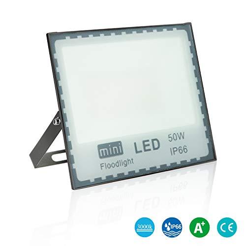 LEDMO 50W LED Fluter Strahler flutlicht LED Blendfreies Flutlicht 3000K Warmweiß,Floodlight Scheinwerfer 4700lm aussen, Außenstrahler Wandstrahler CRI>80 IP66 Wasserdicht AC 85-265V