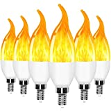E12 Flame Bulbs LED Candelabra Light Bulbs,3 Mode Flickering Wall Lamp Chandelier Flame Effect Bulb, for Christmas Party Decorations Bar Garage Flame Lights(6 Pack)